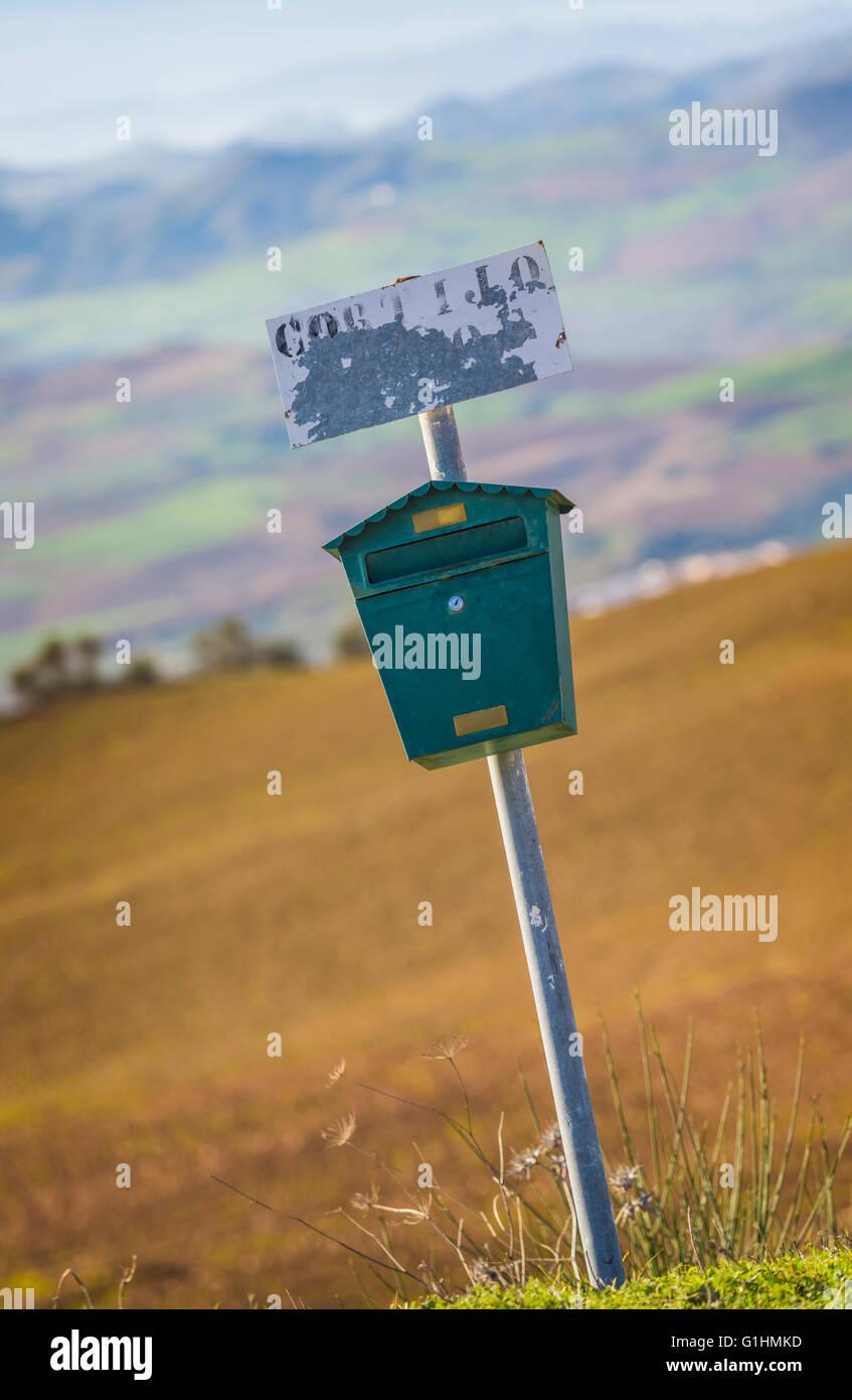 Farmhouse mailbox near Villanueva de la Concepción, Malaga Province, Andalusia, southern Spain. - Stock Image