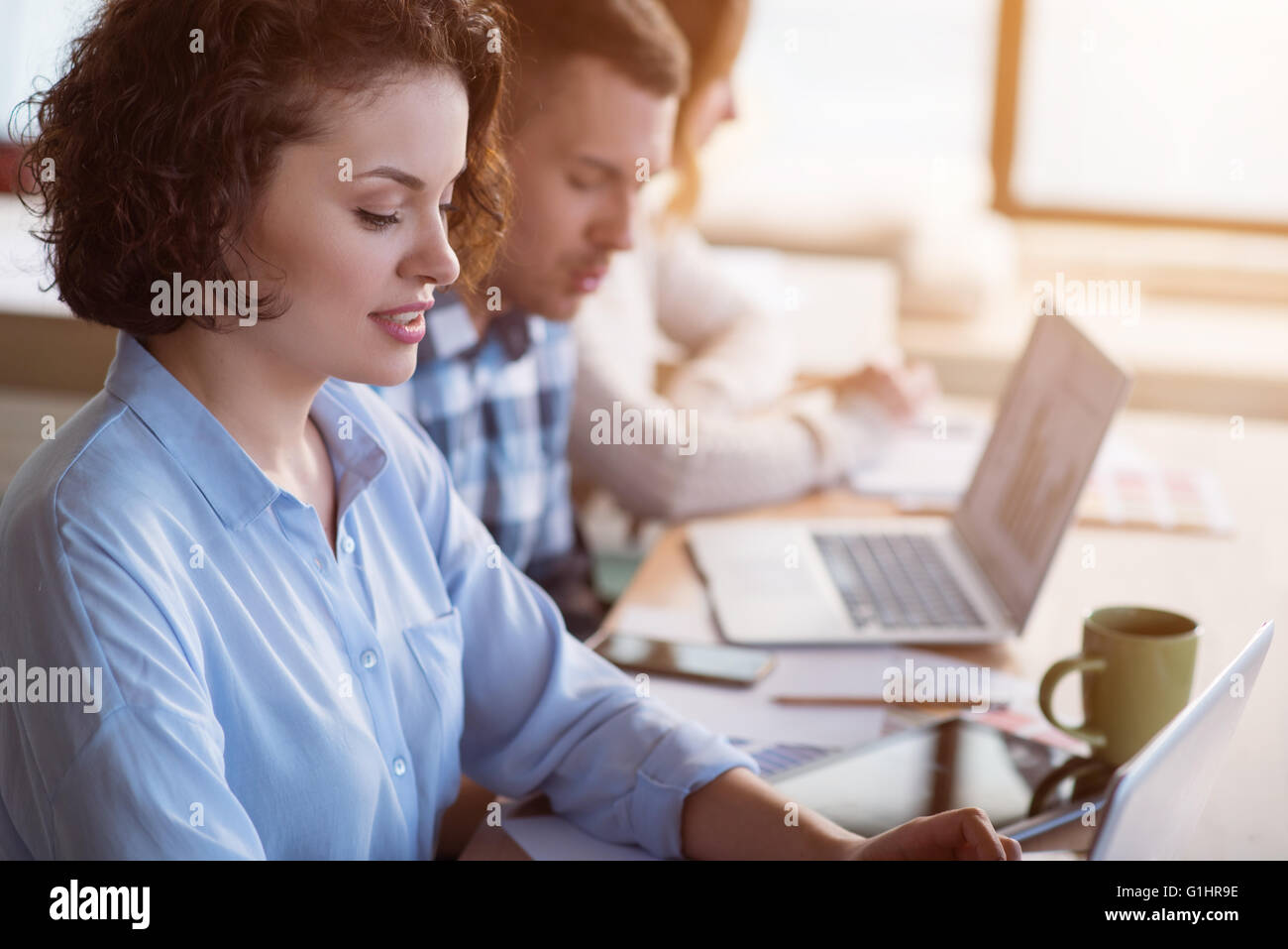 Positive  working in the office - Stock Image