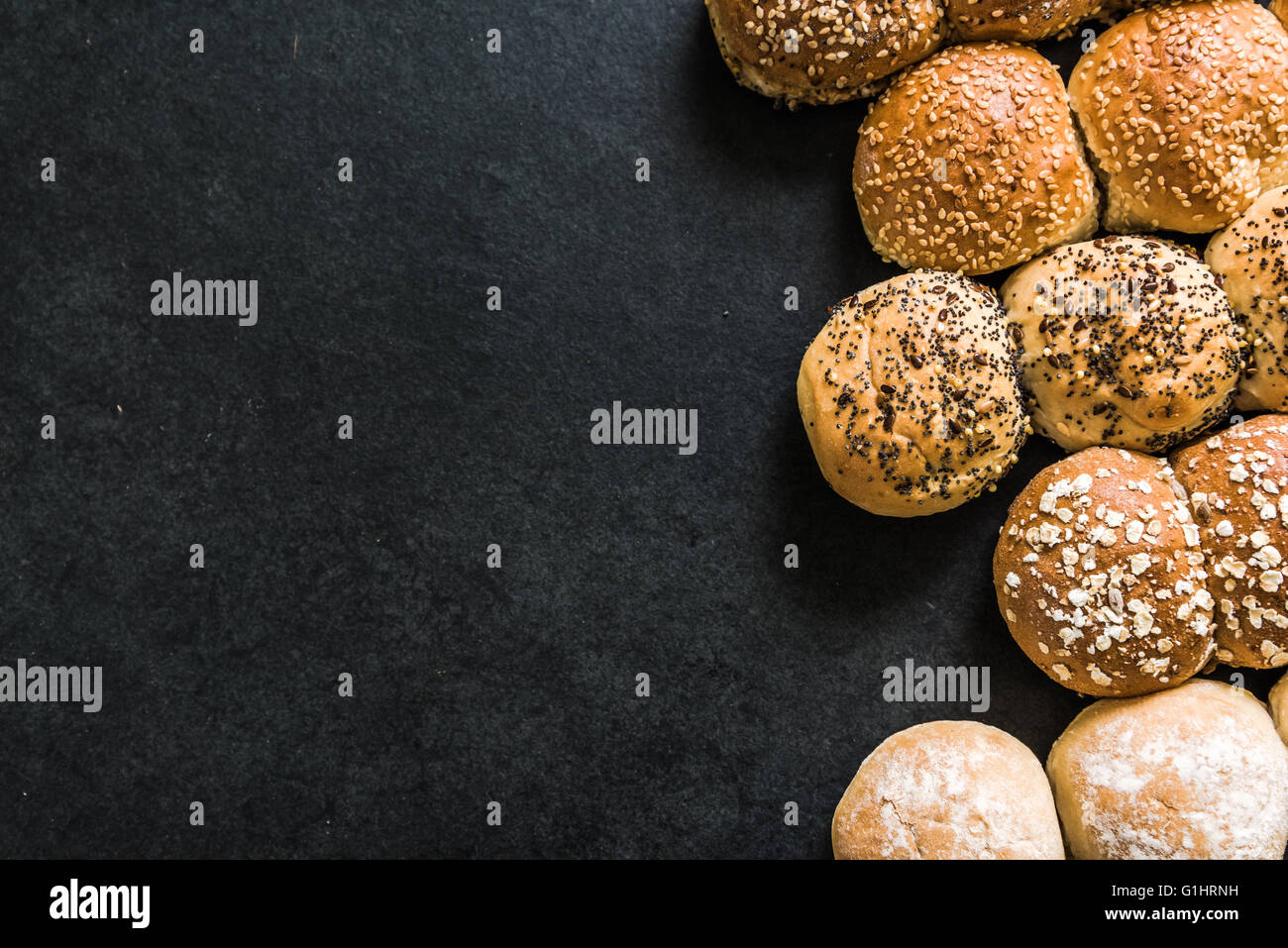 Artisan bakery border background with copy space for product list or ingredients - Stock Image