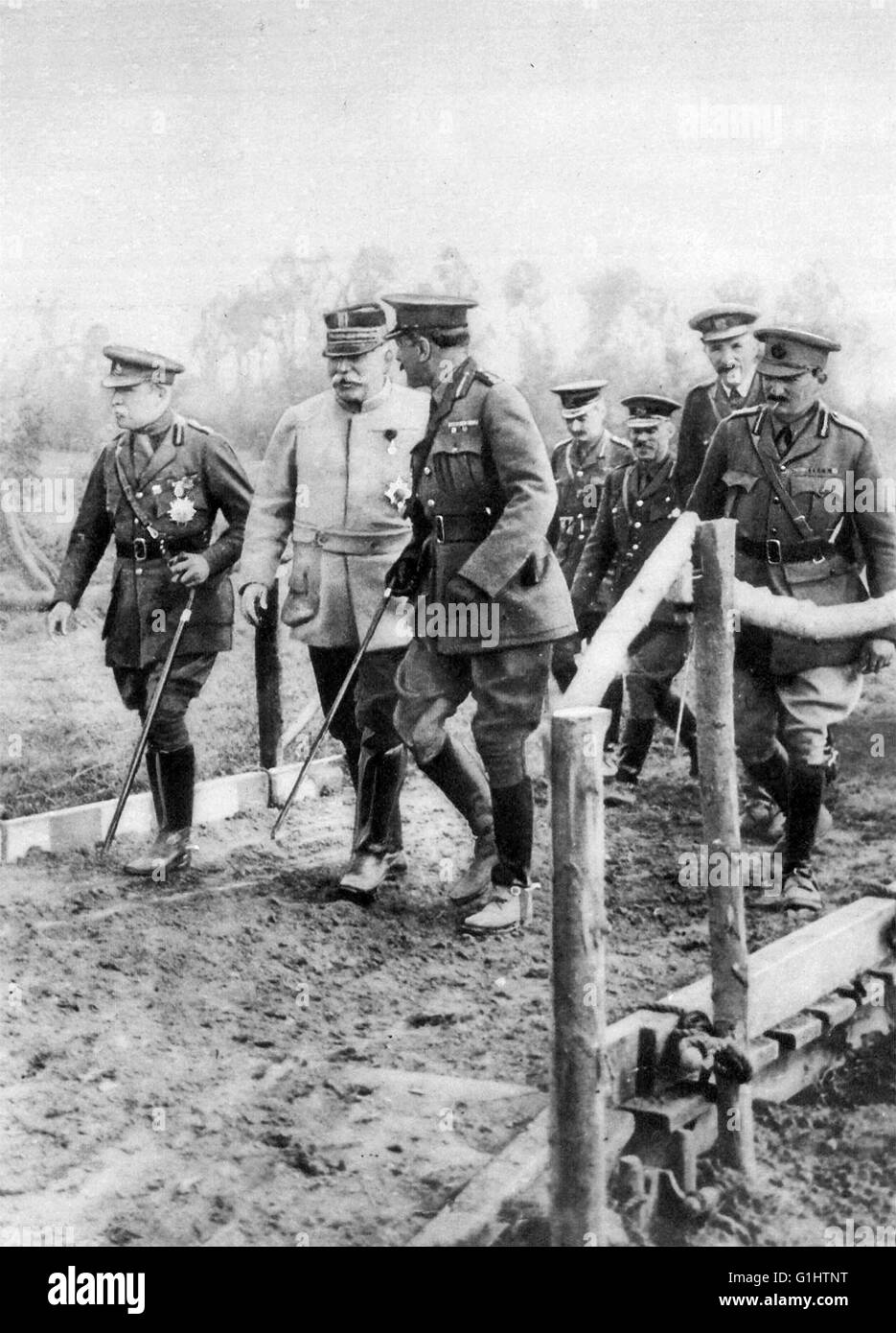Field Marshal Douglas Haig, Joseph Joffre and John French, at the Front during World War 1 - Stock Image