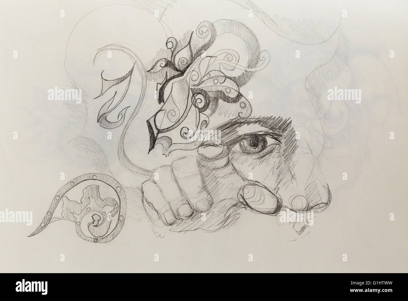 Man eye nose and hand collage pencil sketch on paper