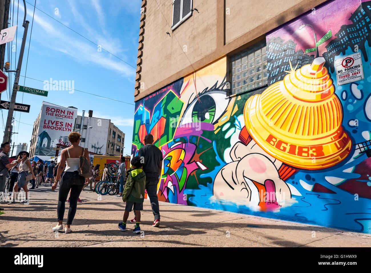 The Bushwick neighborhood in Brooklyn, New York City, is known for it's street art, graffiti murals, the Bushwick - Stock Image