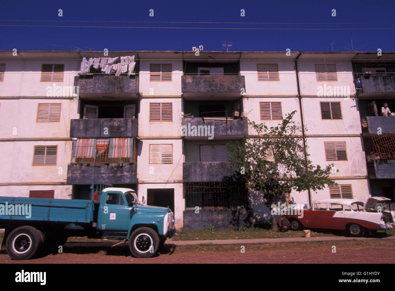 low cost cheap housing apartment building on Isla de la Juventud off mainland coast of Cuba - Stock Image
