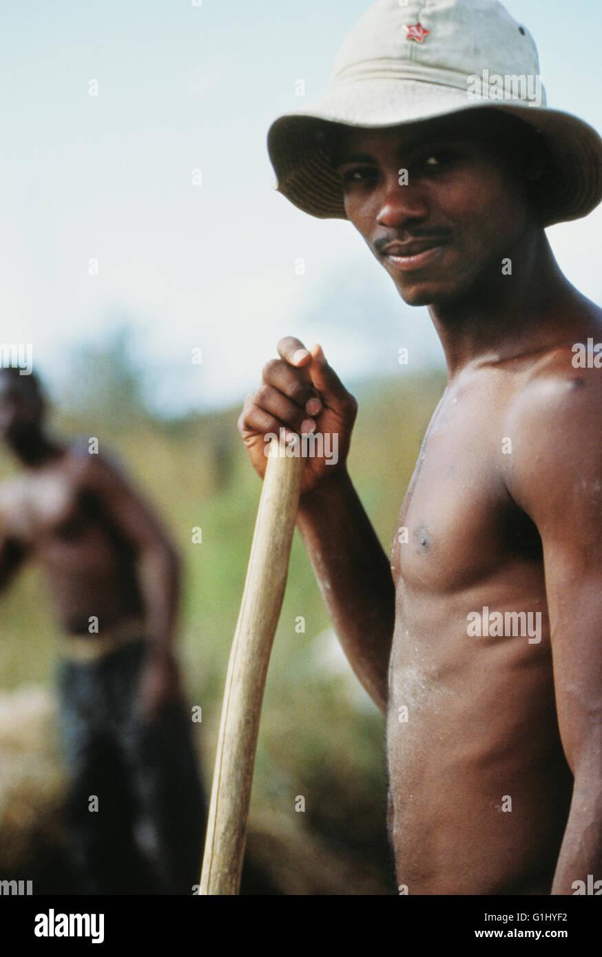 Cuban farm worker on Isla de la Juventud off mainland of Cuba Caribbean - Stock Image