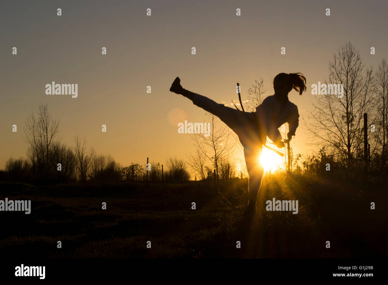 Silhouette of a girl practicing Taekwondo martial art - Stock Image