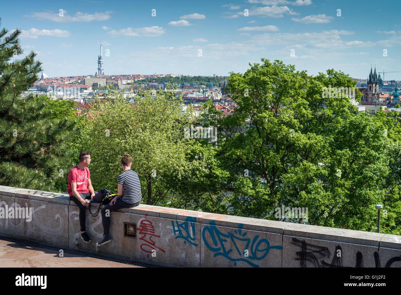 The Metronome and Letna park, Prague, Czech Republic, Europe - Stock Image