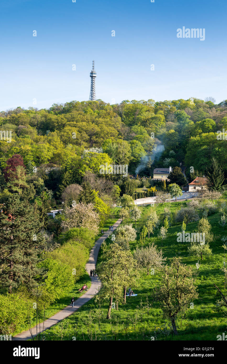 Lookout tower on the Petrin Hill in spring, Prague, Czech republic, Europe Stock Photo