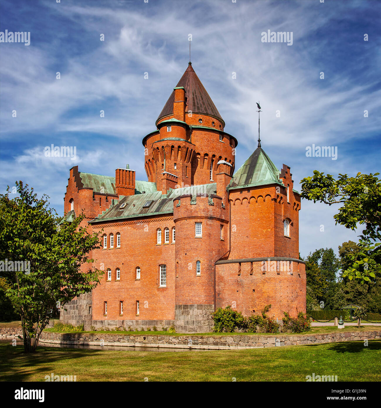 Image of the castle of Hjularod in Sweden, built in a french medieval romantic style. - Stock Image