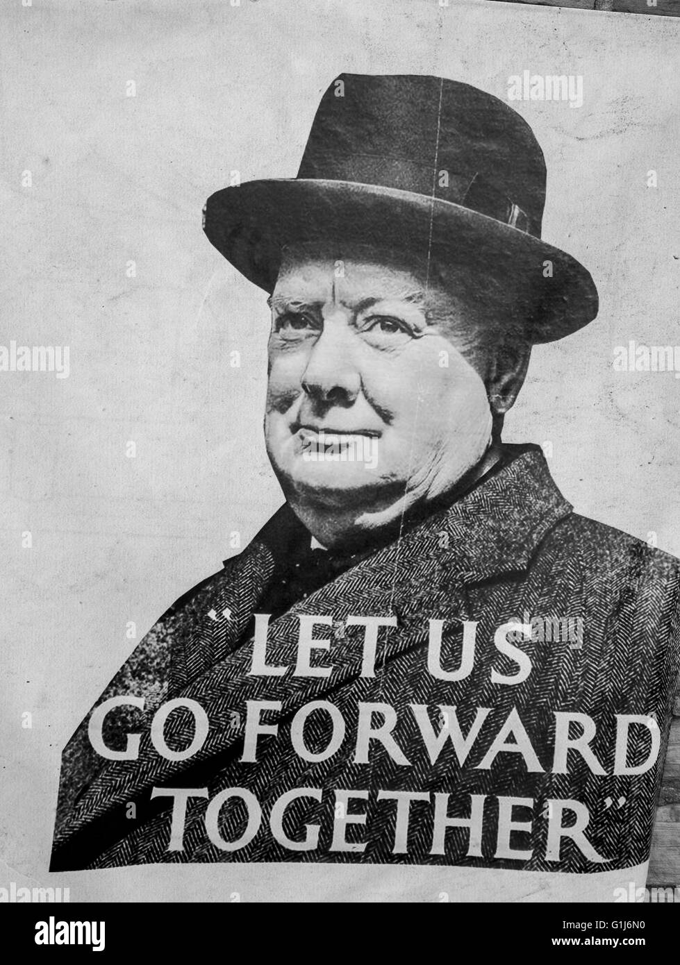 1940s WW2, WWII. World War two. Wartime poster in Haworth, North Yorkshire, UK. Advertising 1940s Churchill quotation - Stock Image