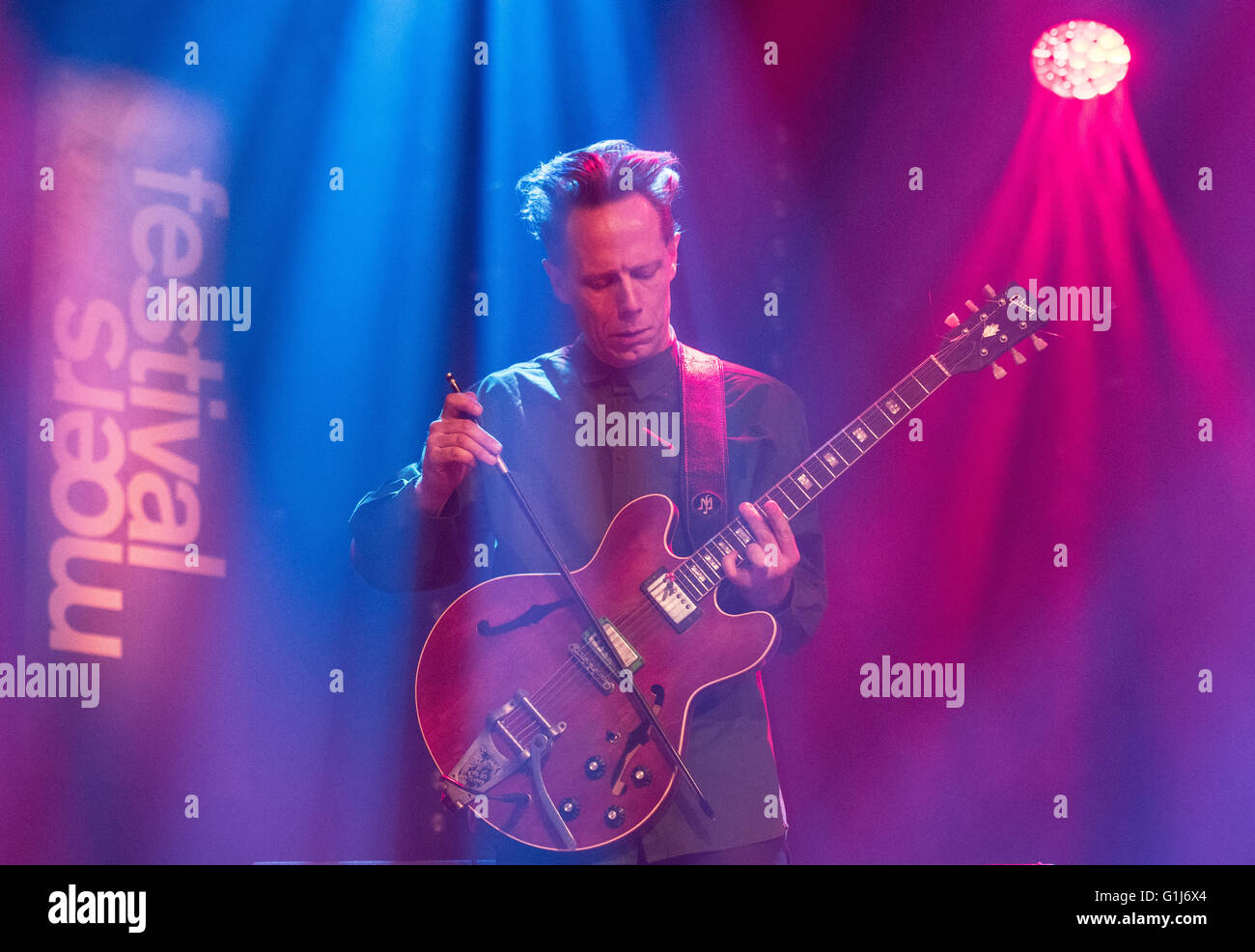 Norwegian guitarist Stian Westerhus from the band 'Warped Dreamer' plays at the Moers Festival in Moers, - Stock Image