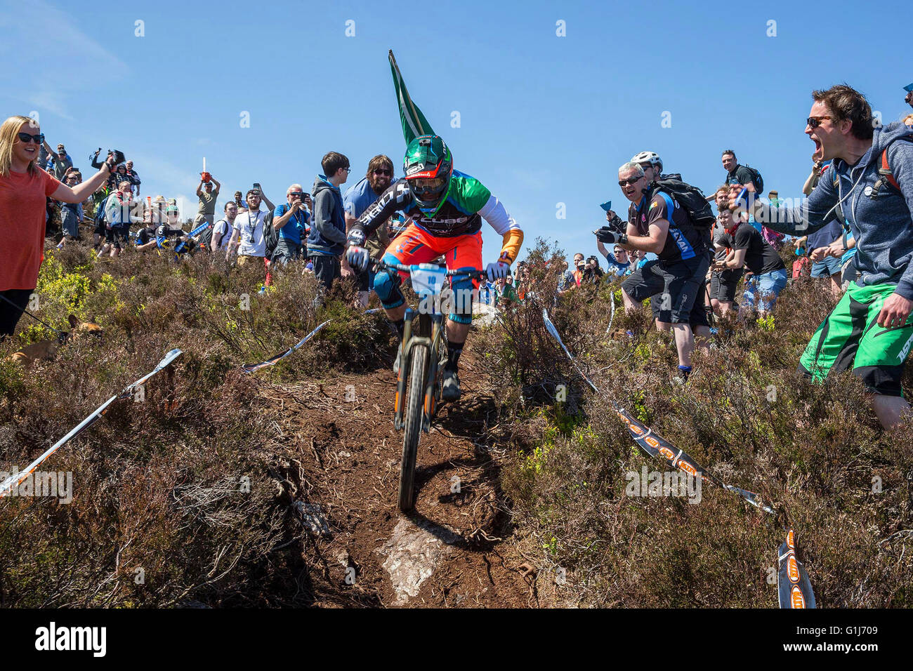 Carrick Mountain, Co Wicklow, Ireland. 15th May, 2016. Emerald Enduro World Series mountain bike downhill racing - Stock Image