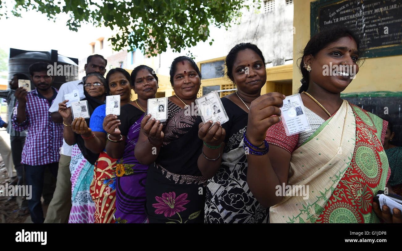 Chennai, India. 16th May, 2016. People queue to vote