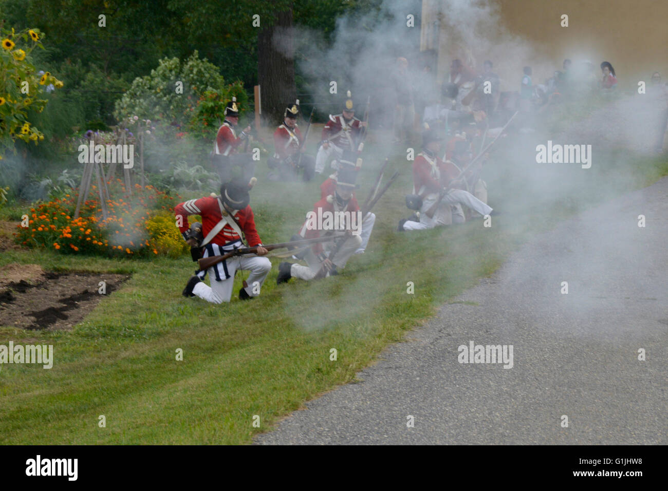 British soldiers  in the reenactment of the Battle of Bladensburg show in Riverdale, Park, Md - Stock Image