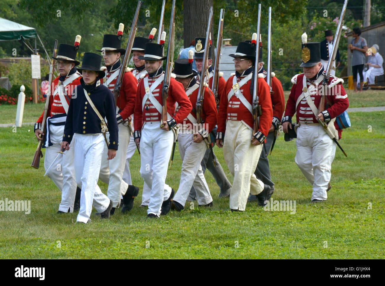 British soldiers in Battle of Bladensburgt reenactment - Stock Image
