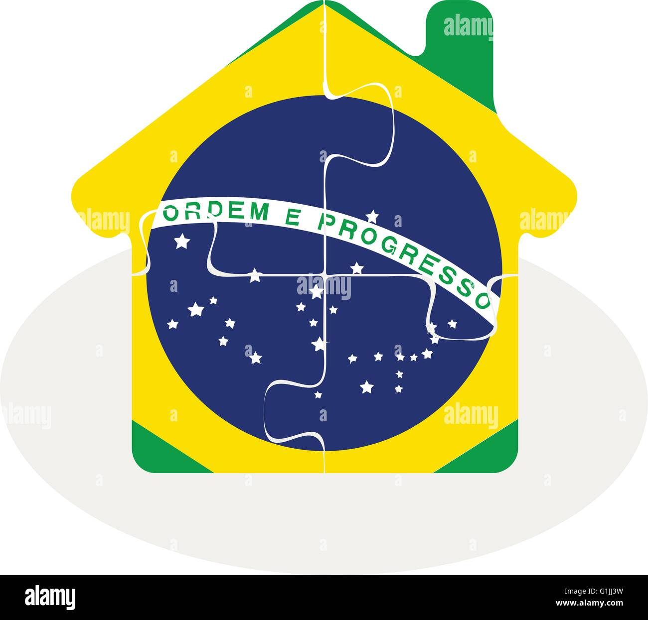 Vector illustration of house home icon with Brazil flag in puzzle isolated on white background Stock Vector