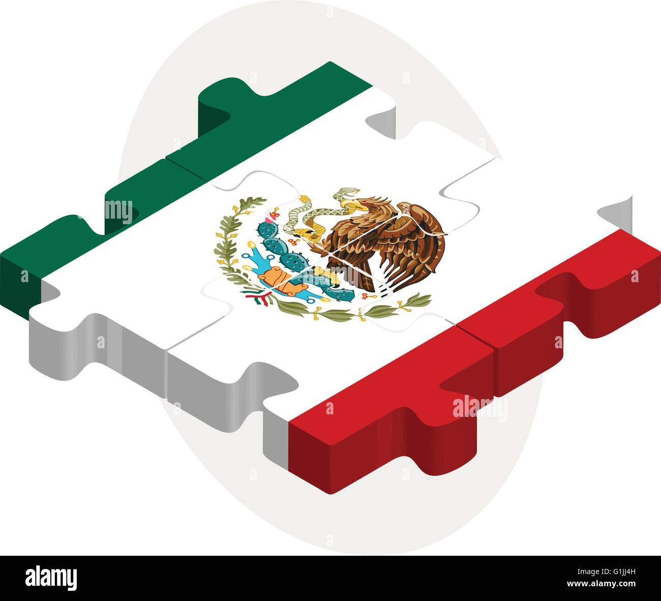 Vector illustration of Mexico Flag in puzzle isolated on white background - Stock Image