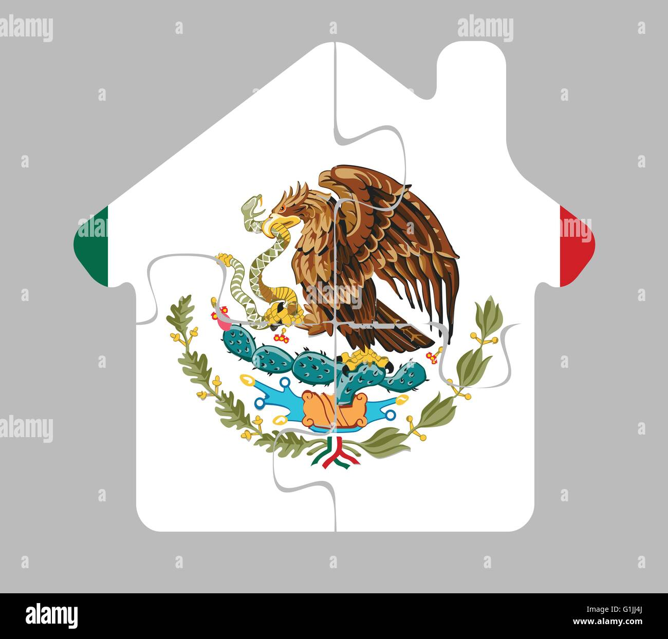Vector illustration of house home icon with Mexico flag in puzzle isolated on white background Stock Vector