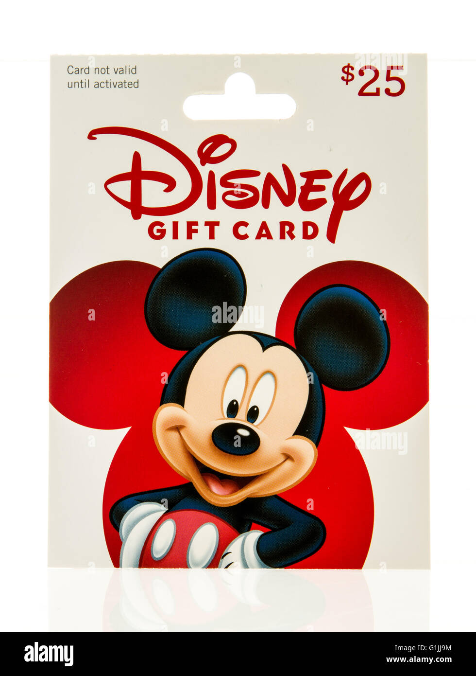 b13c565e22d Winneconne, WI - 15 May 2016: Package of a Disney gift card on an isolated  background