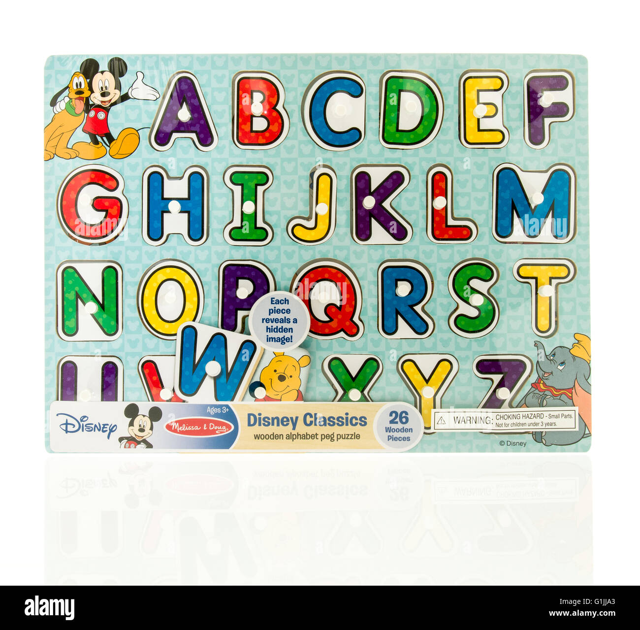 Winneconne, WI - 15 May 2016: Package of a Disney  classic alphabet puzzle on an isolated background - Stock Image