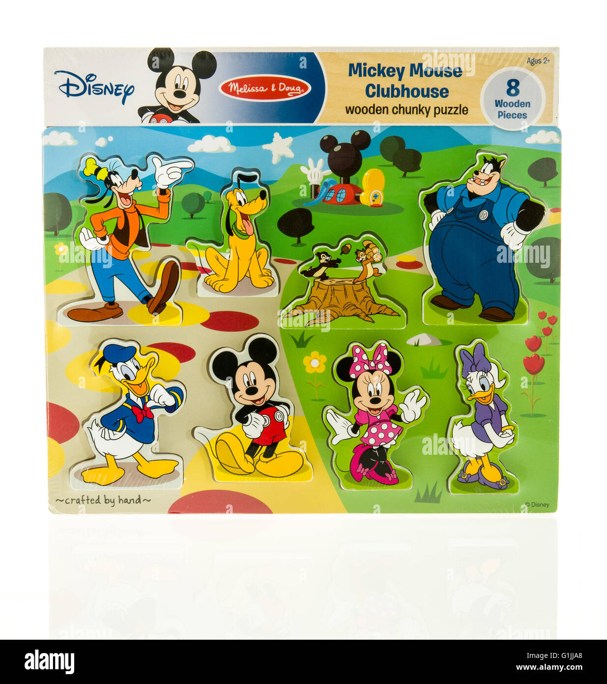 Winneconne, WI - 15 May 2016: Package of a Disney Mickey Mouse clubhouse puzzle on an isolated background - Stock Image