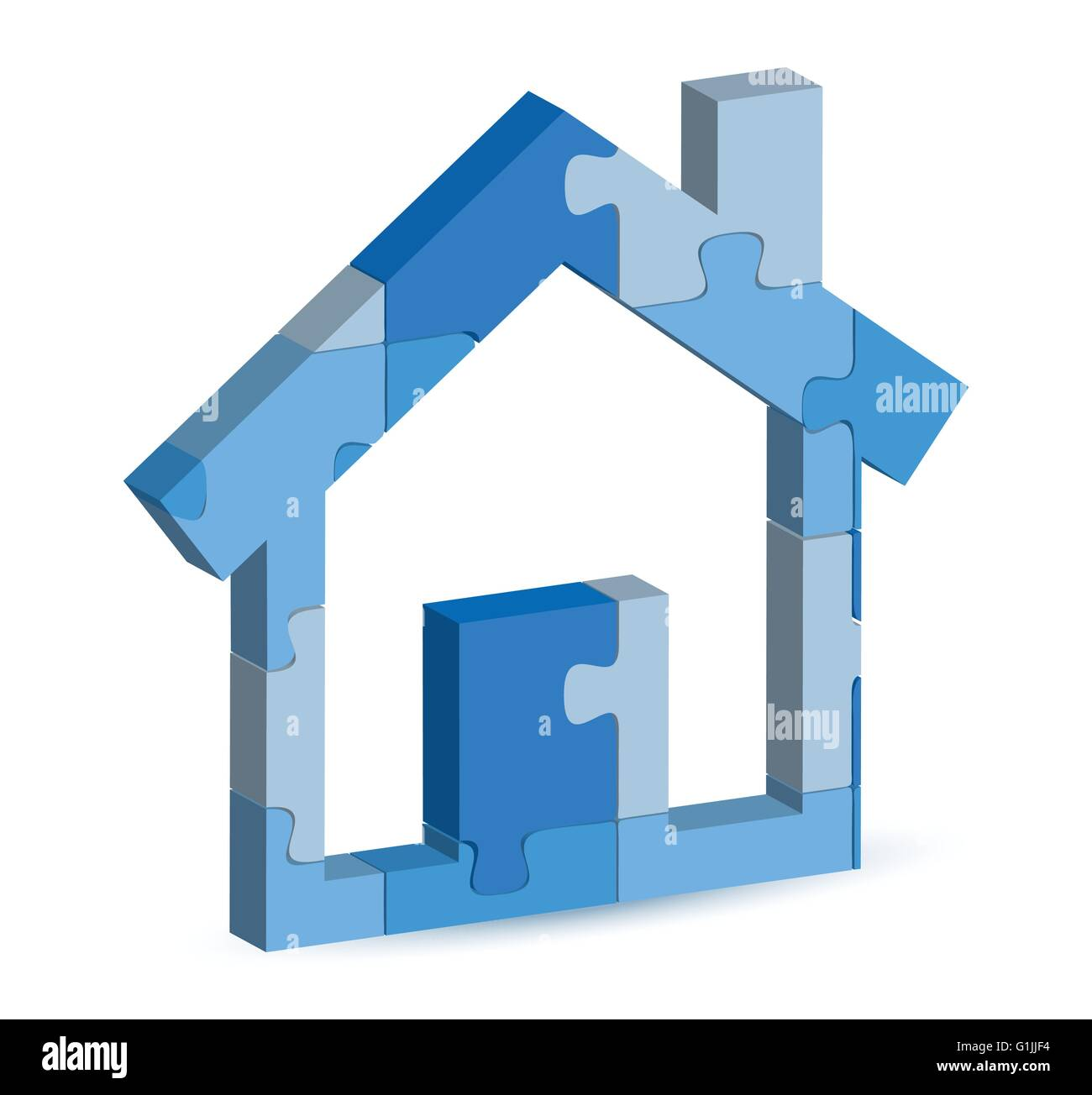 EPS 10 Vector Illustration of home icon in puzzle - Stock Vector