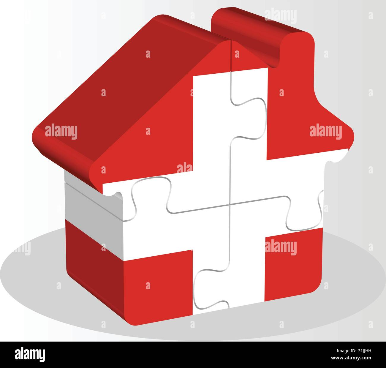 Vector illustration of house home icon with Swiss flag in puzzle isolated on white background Stock Vector