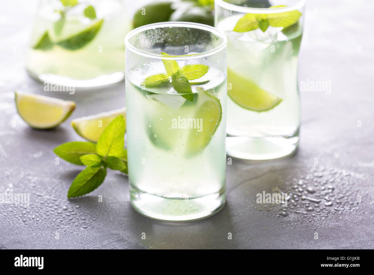Fresh lemonade with mint and limes - Stock Image