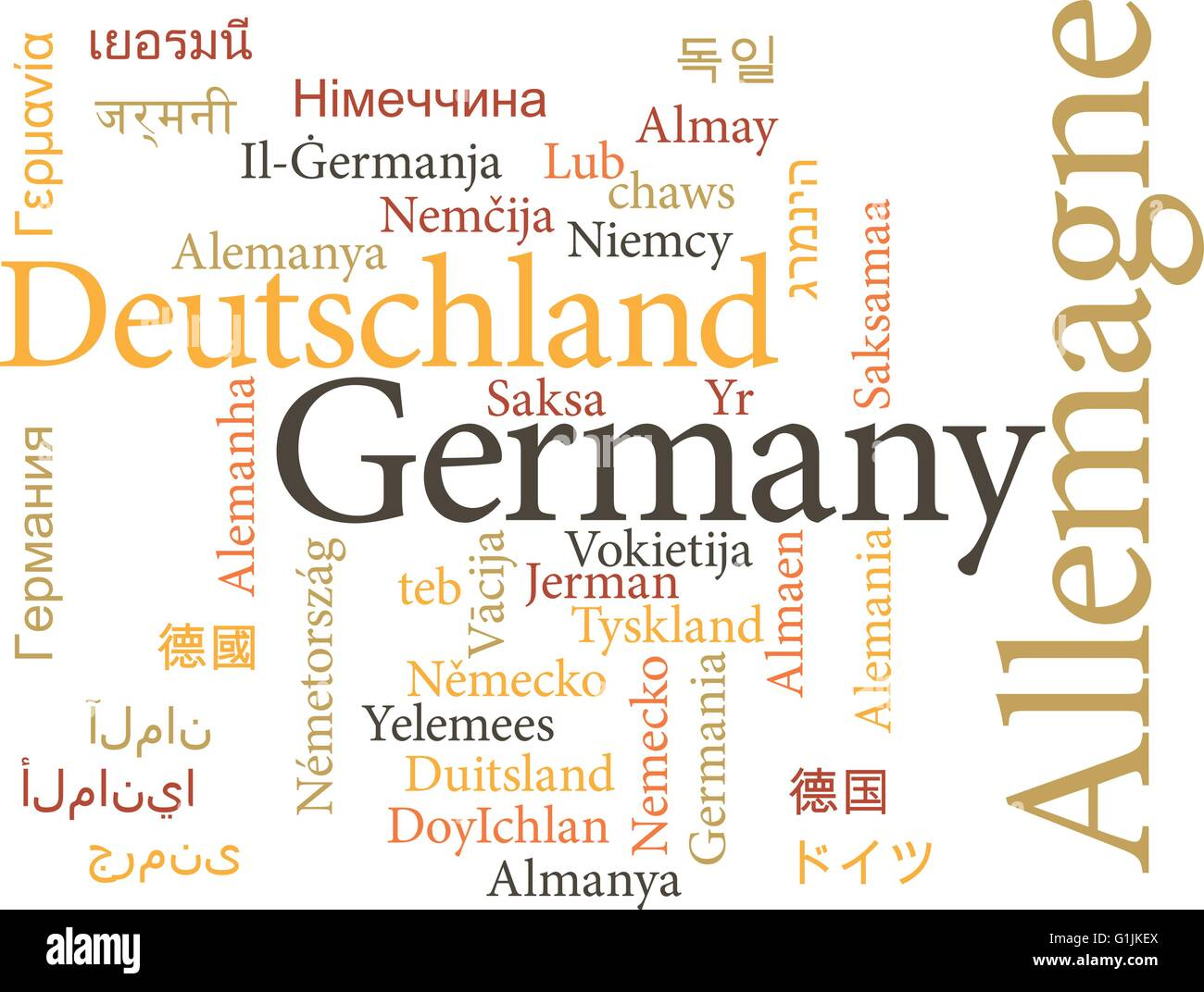 Vector illustration of Germany in word clouds isolated on white background - Stock Vector