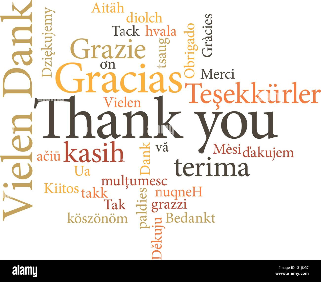 illustration of the word thank you in word clouds isolated on white background Stock Vector