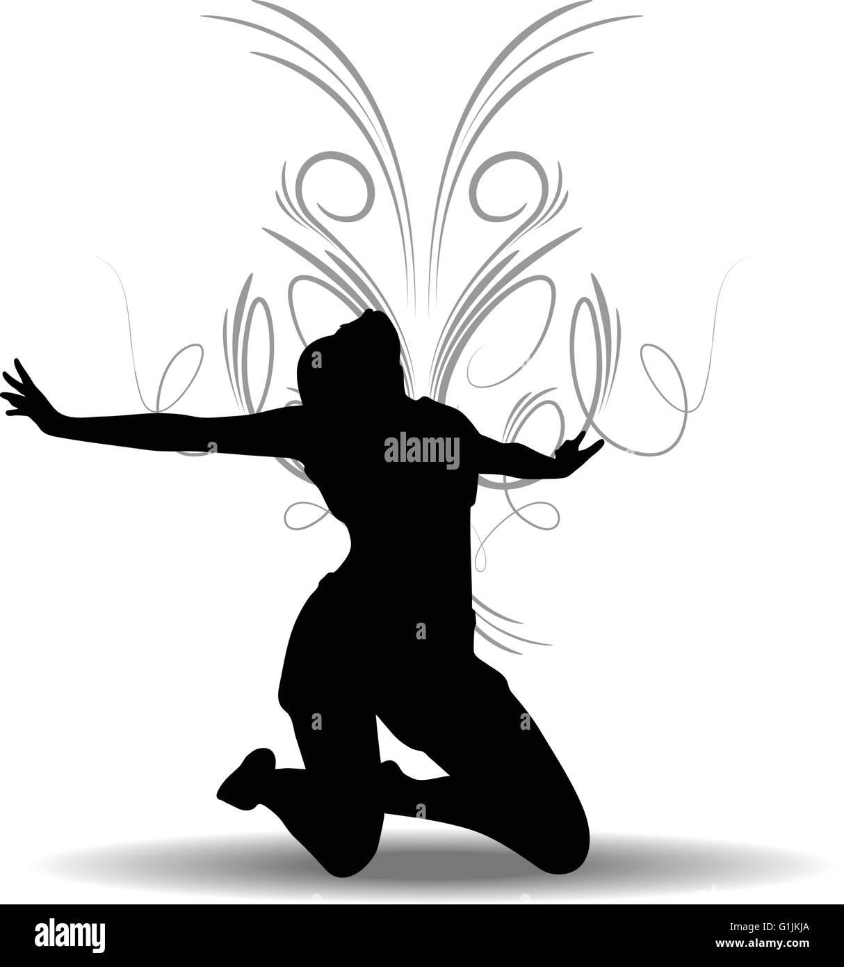 EPS 10 Vector illustration of Funky Girl Silhouette - Stock Vector
