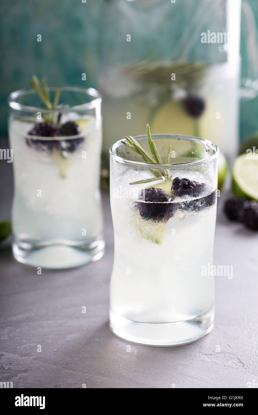 Blackberry lime and rosemary lemonade - Stock Image