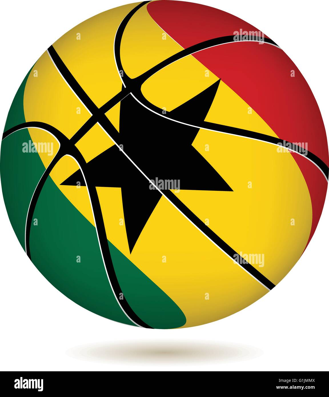 EPS 10 Vector. Basketball ball with Ghana flag on white. - Stock Vector