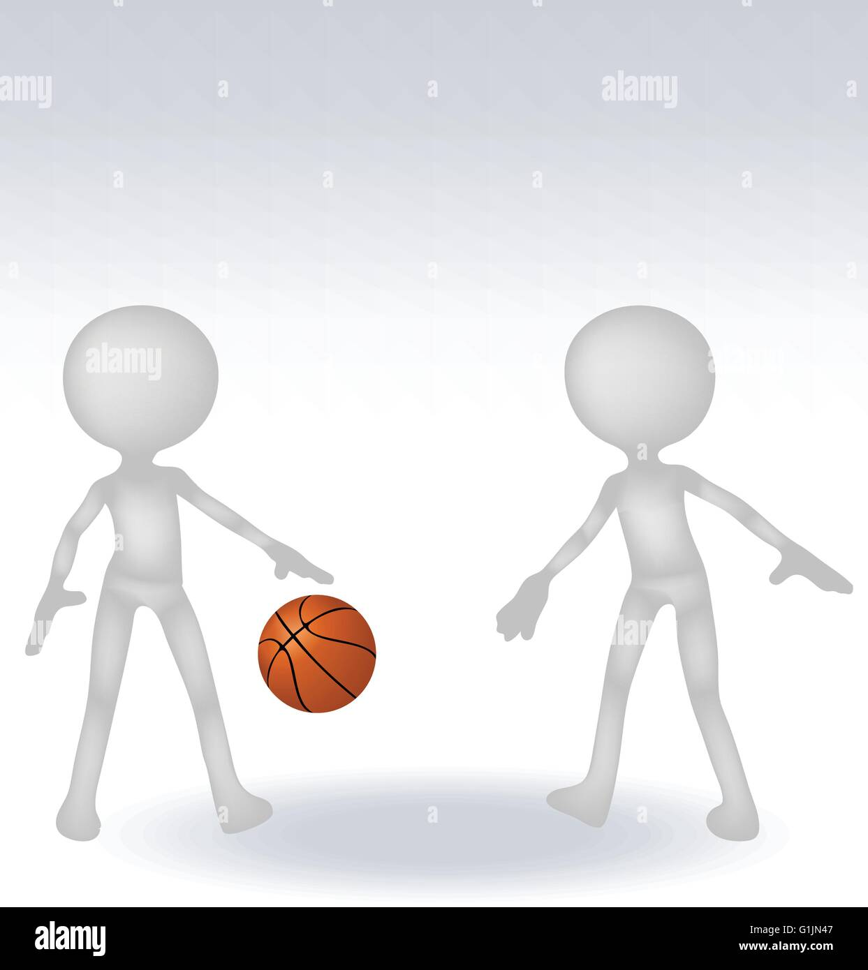 3d human basketball player with ball on white background - Stock Vector