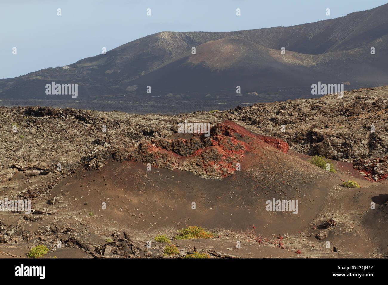 Desert arid peak stone volcanic mars landscape in Lanzarote - Stock Image