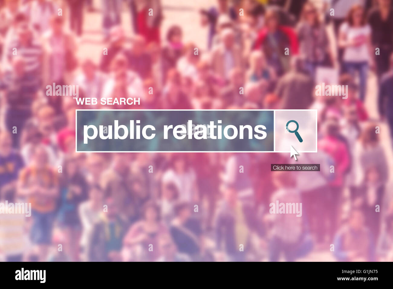 Public relations web search box on internet page. - Stock Image
