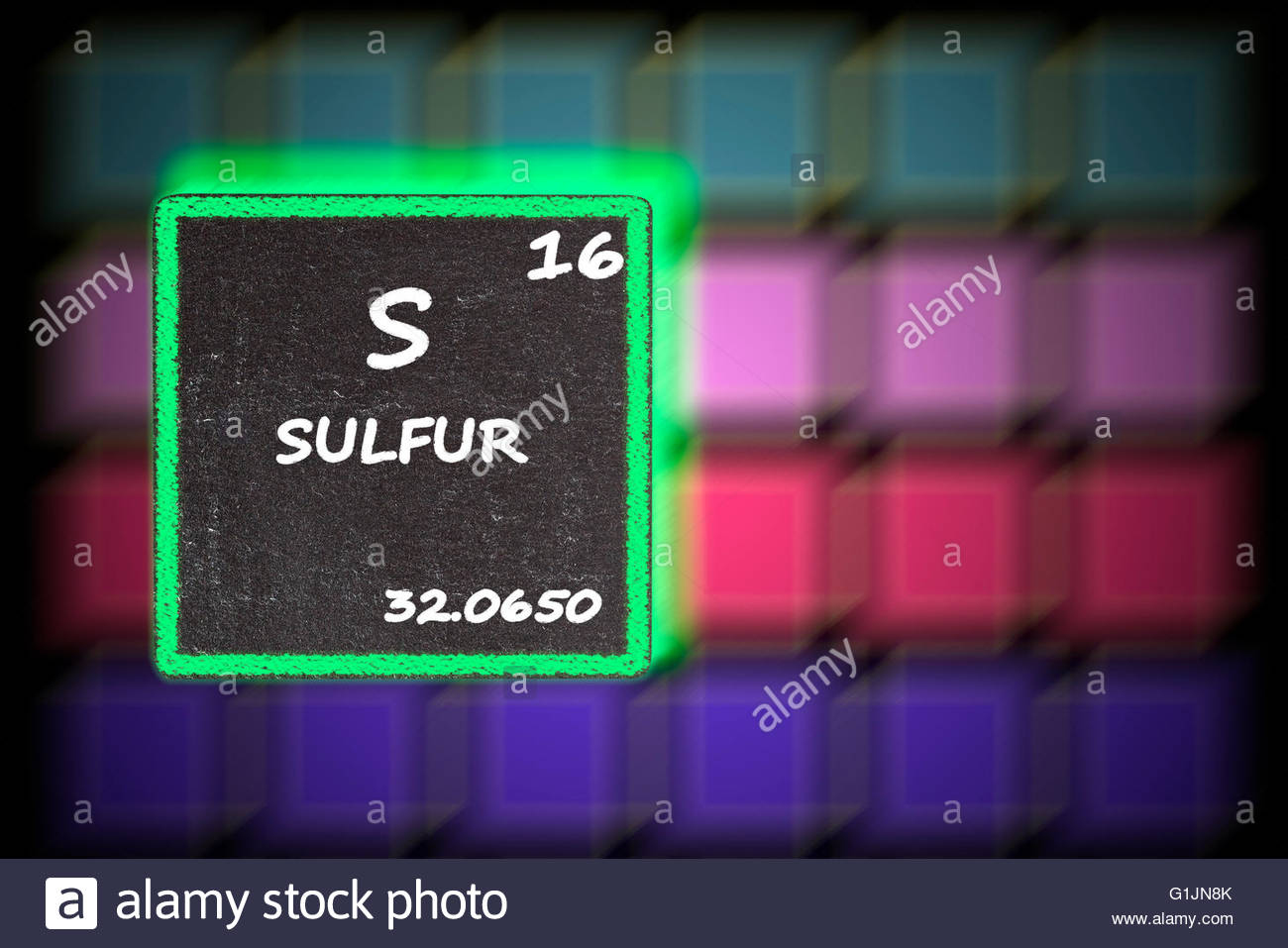 Atomic number 16 stock photos atomic number 16 stock images alamy sulfur details from the periodic table stock image urtaz Gallery
