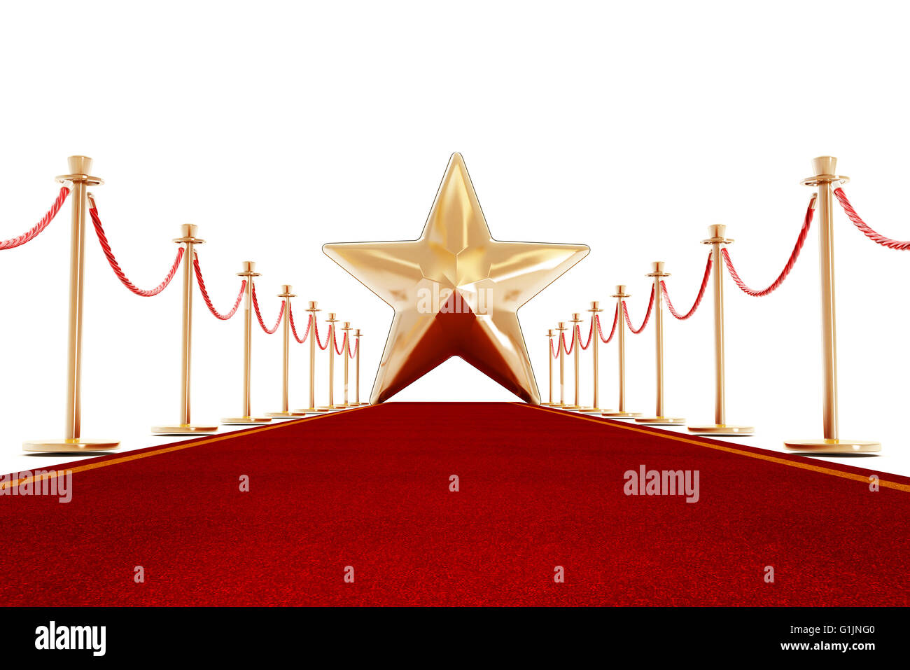 Red carpet and velvet ropes with a golden star shape at the end of the lane. - Stock Image