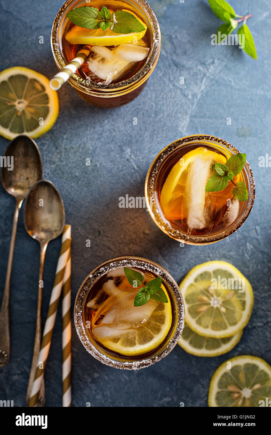 Iced tea overhead shot - Stock Image
