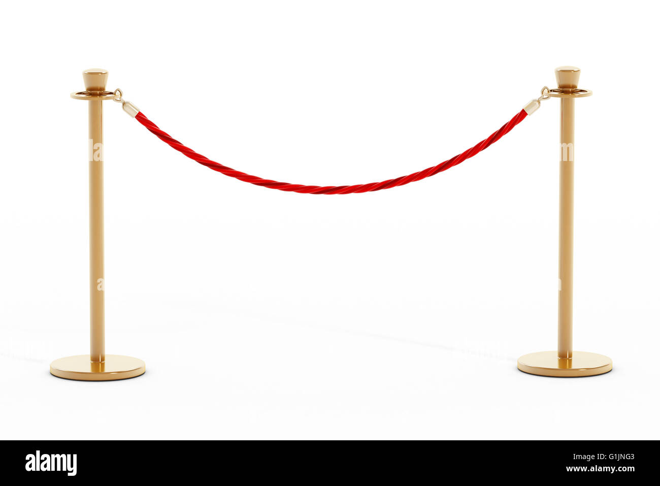 Velvet rope and golden barriers isolated on white background - Stock Image
