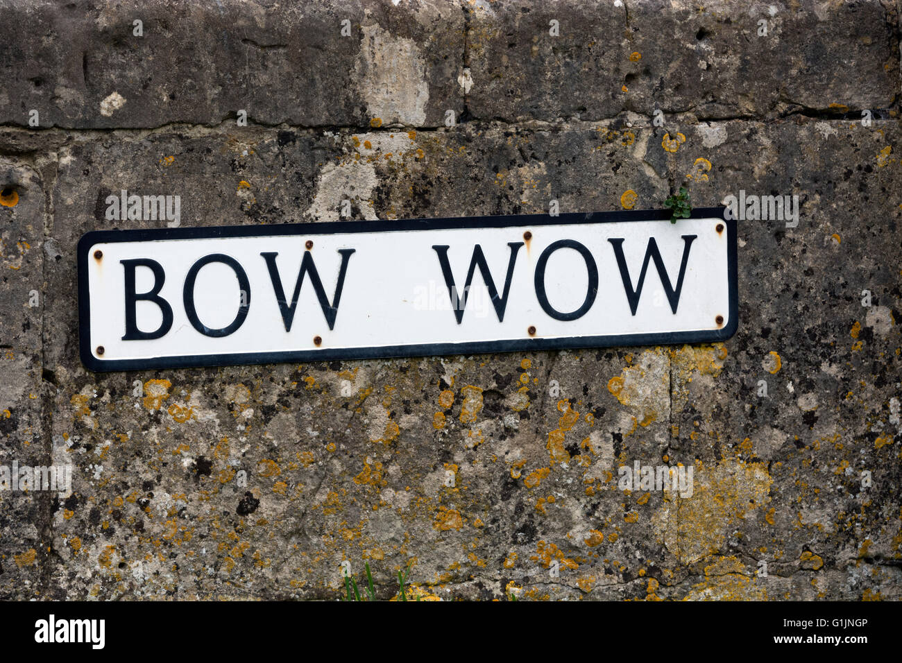 Bow Wow street sign, South Cerney village, Gloucestershire, England, UK - Stock Image