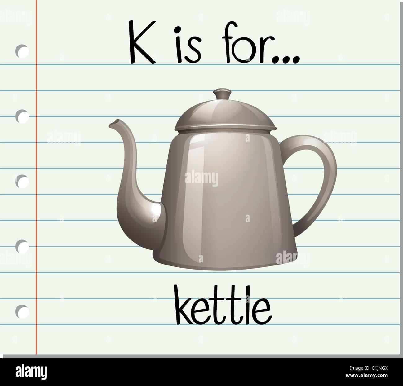 flashcard letter k is for kettle illustration stock vector art