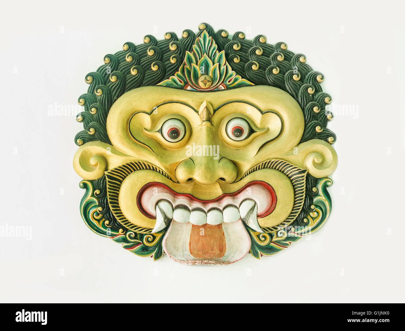 Wall with beautiful ornament mask in Yogyakarta Sultanate Palace ...