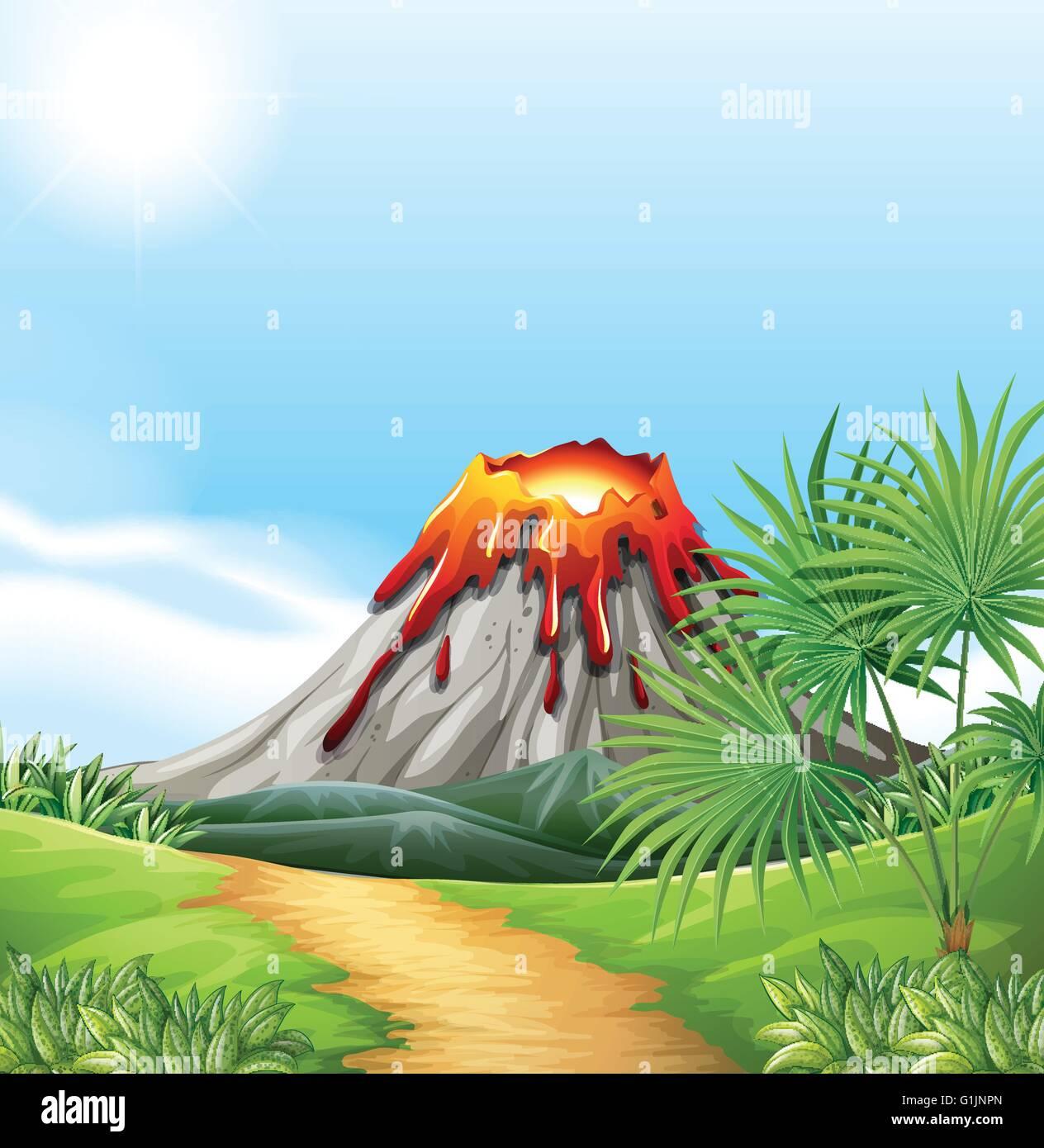 Scene with volcano eru...