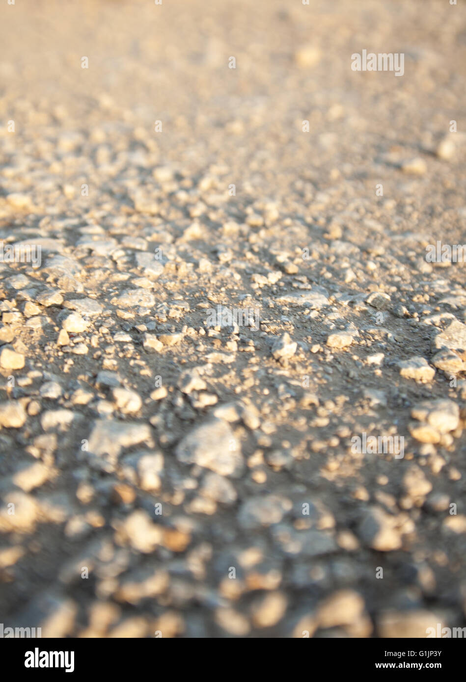 Texture of sone dirt road, low angle shot. Stock Photo