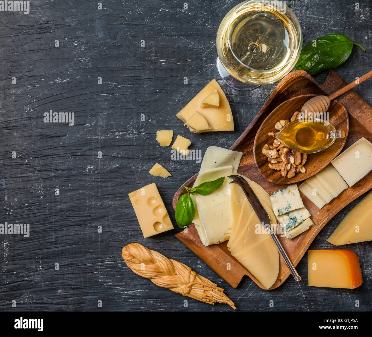 Various types of cheese - Stock Image