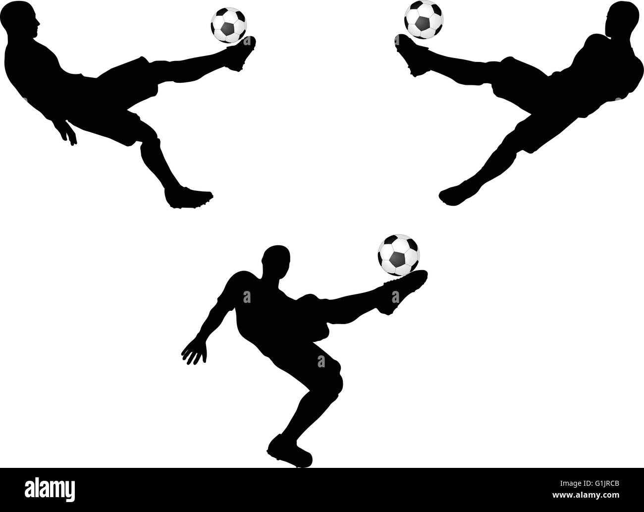 isolated poses of soccer players silhouettes in air position - Stock Image