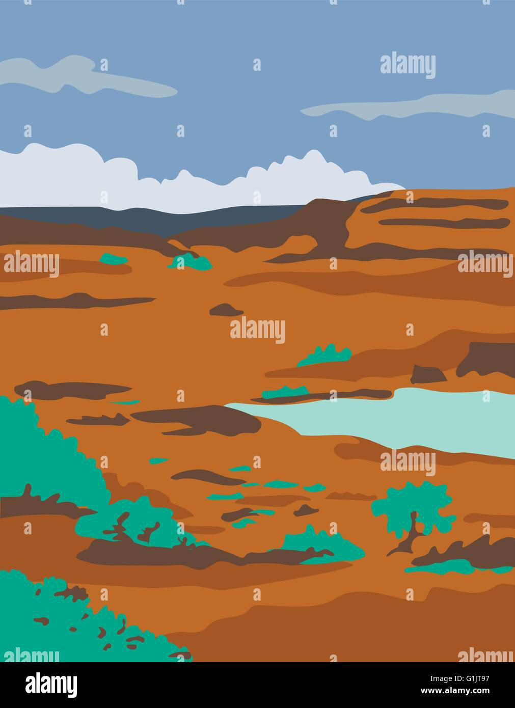 WPA style illustration of a columbian basin desert or arid steppe with water basin lake scenery set inside rectangle - Stock Vector