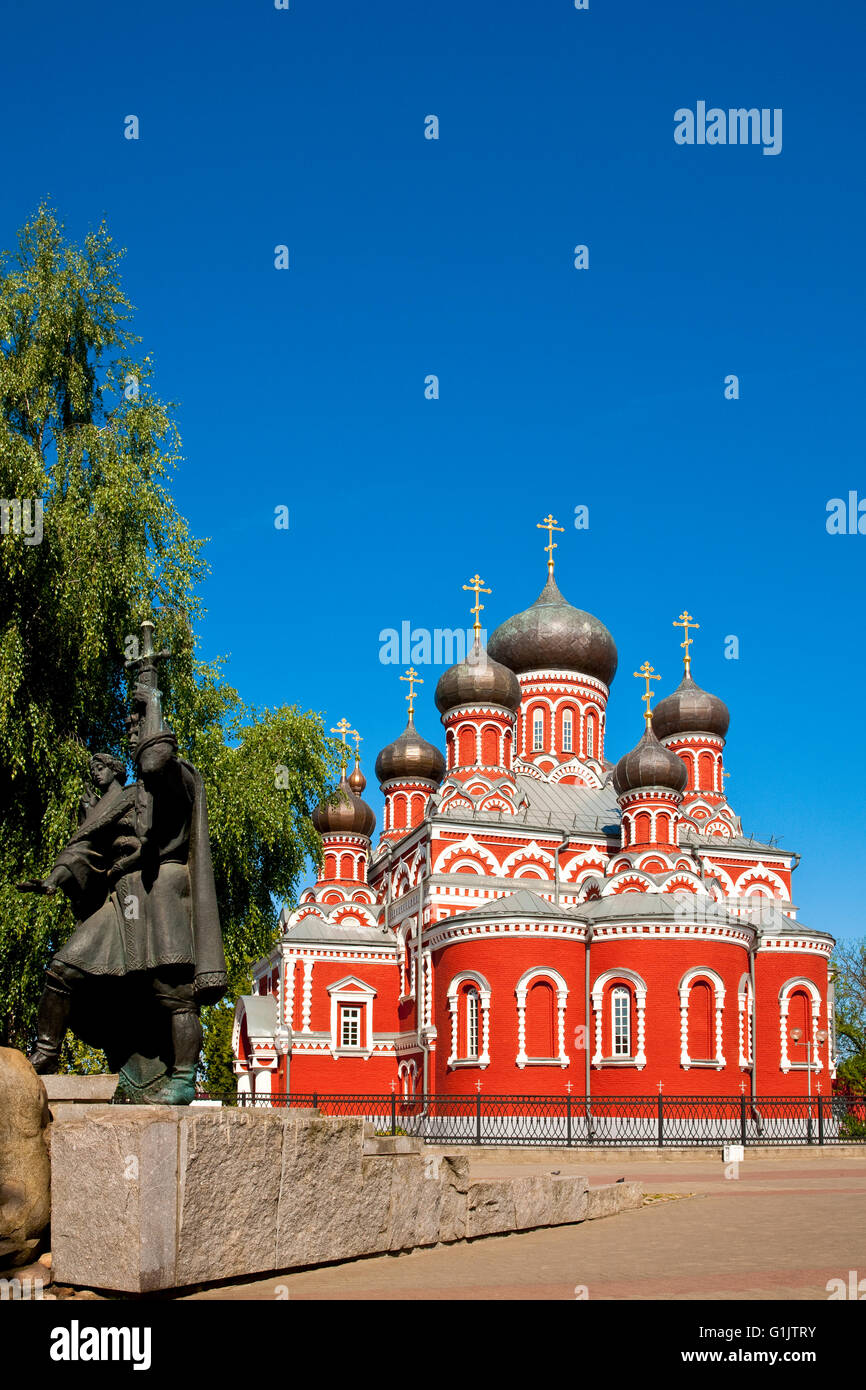Monument to Prince Boris Vseslavovich in front of an Orthodox church, Barysaw ( Borisov ), Belarus - Stock Image