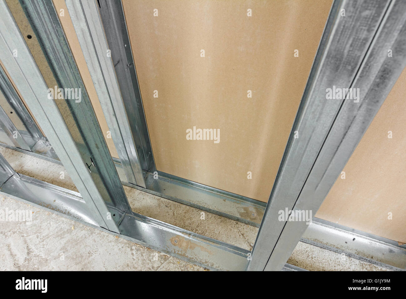 Frame for plasterboard. Gypsum wall is under construction Stock ...