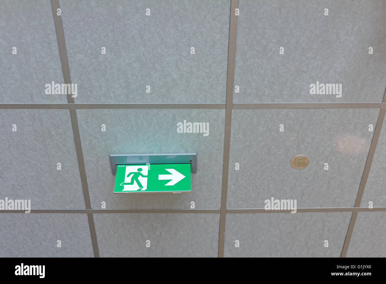 Standard international symbol safe exit sign is hanging from the ceiling. - Stock Image